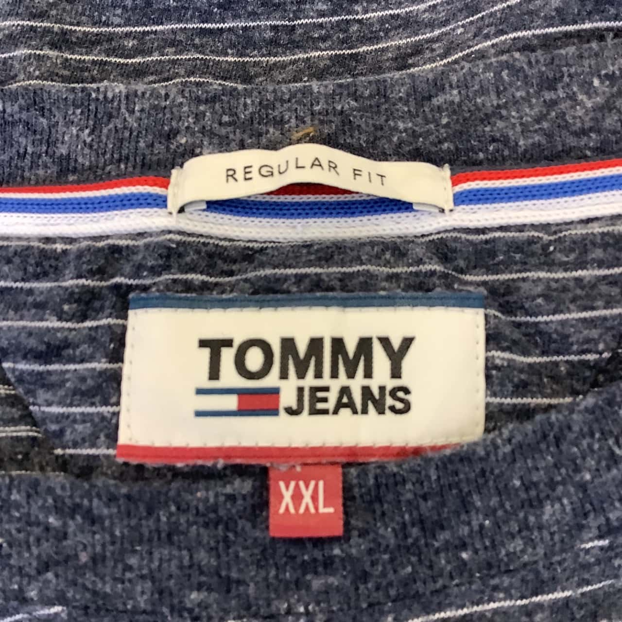 Tommy Jeans Mens  Size XXL Blue/Striped Crew Neck  Tee