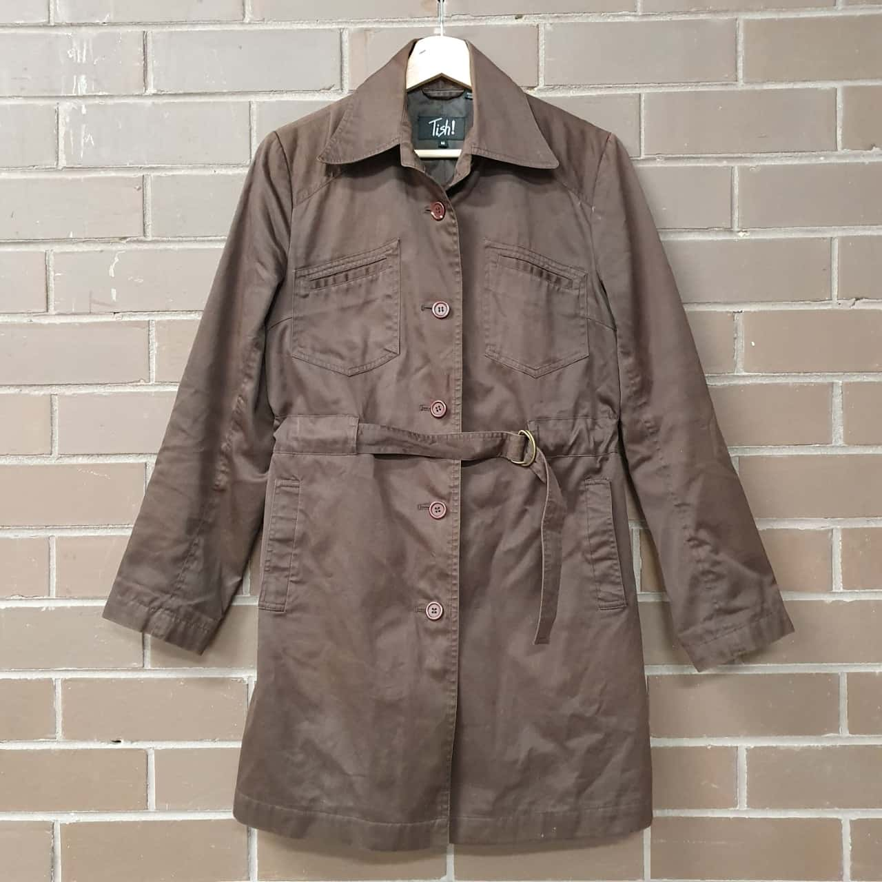 Womens  Retro Style Raincoat Size 10 Brown
