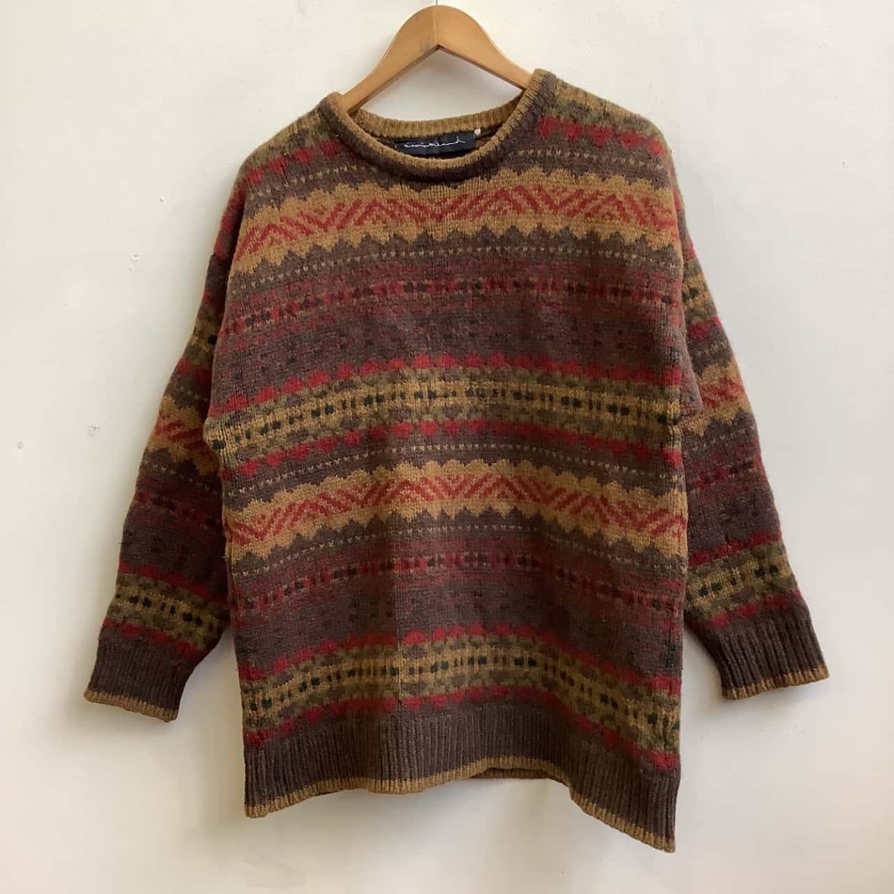 Brookland Mens Brown/Multicoloured  Woollen Knit Jumper