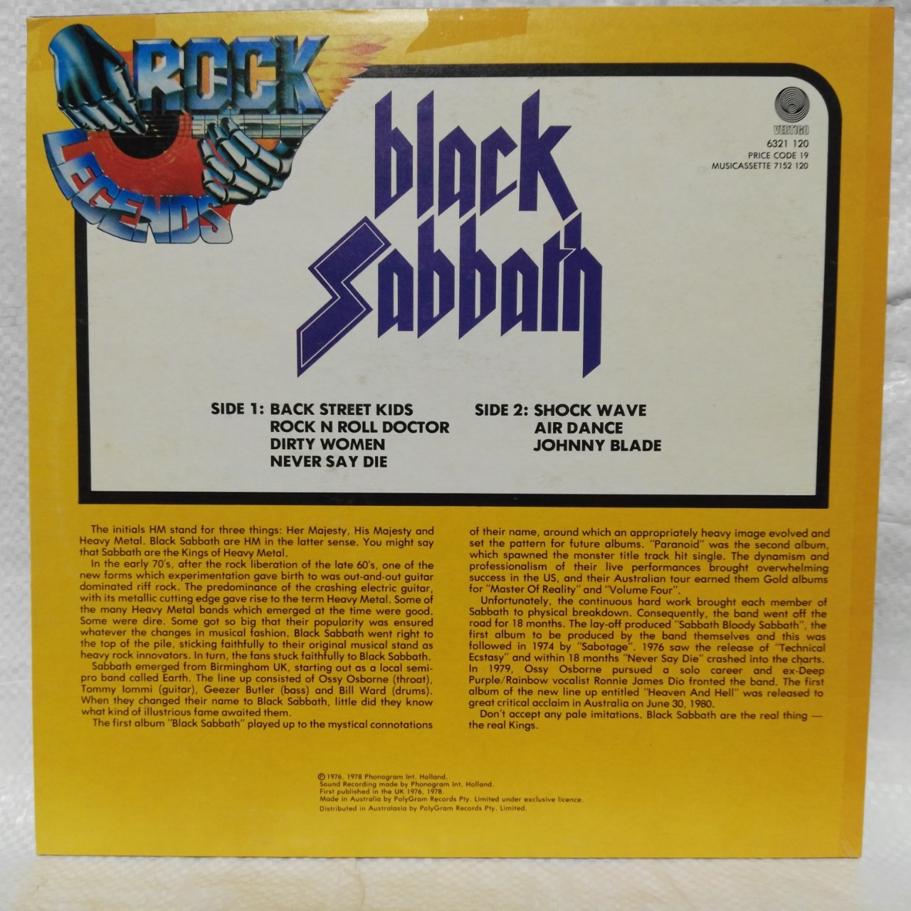 Black Sabbath Rock Legends Vinyl Album