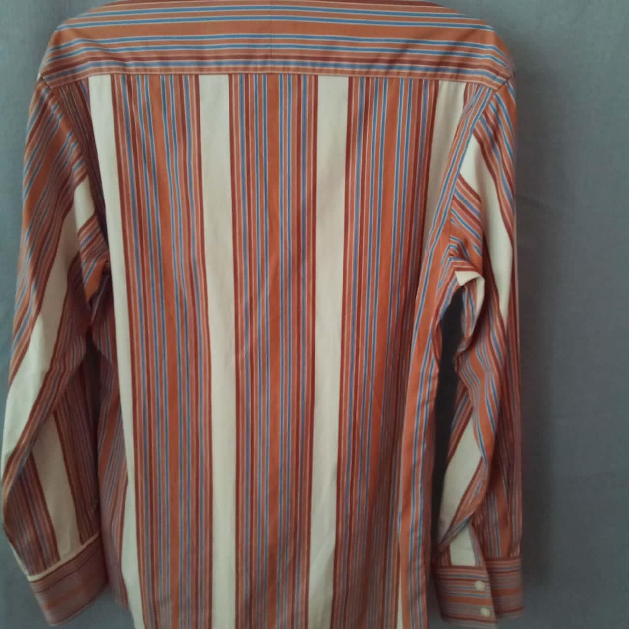 Oxford Mens Cream/Brown/Blue Stripe Shirt Size M
