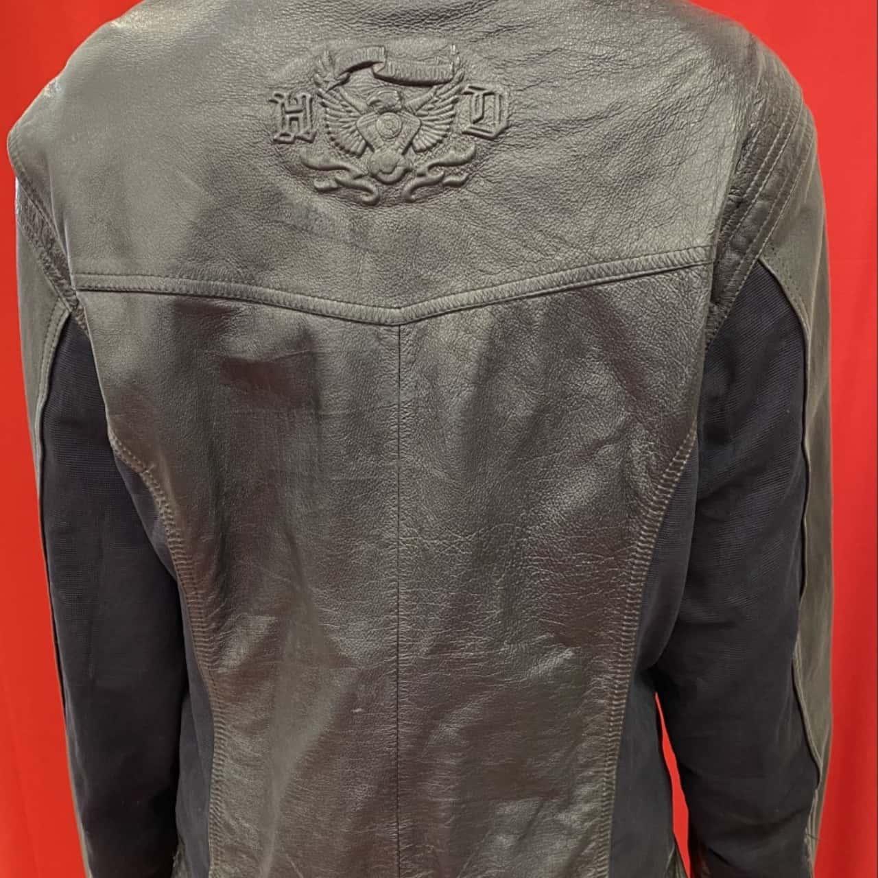 Harley Davidson Mens  Size S/M Winter Coat/Leather Jacket Black Biker Winter Black