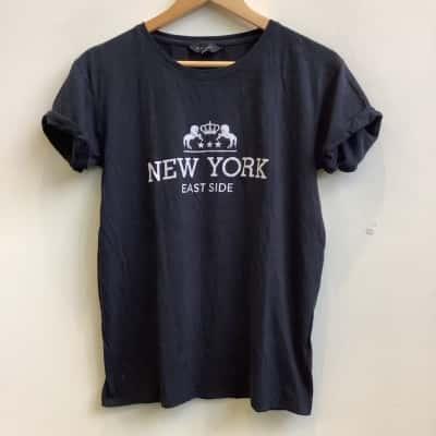 New Look Womens Size UK 10, US 6 Black T-Shirt