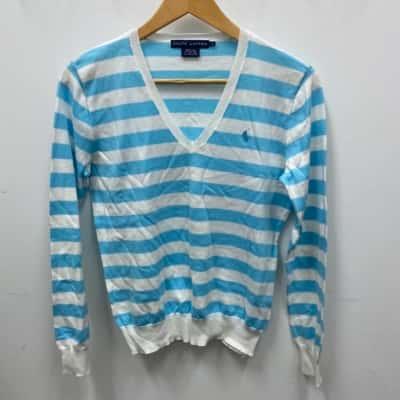RALPH LAUREN Boys Sweater Size L Blue/White