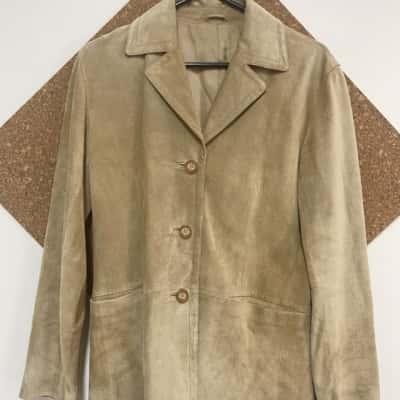 Jacqui E Leather suede Cream Jacket