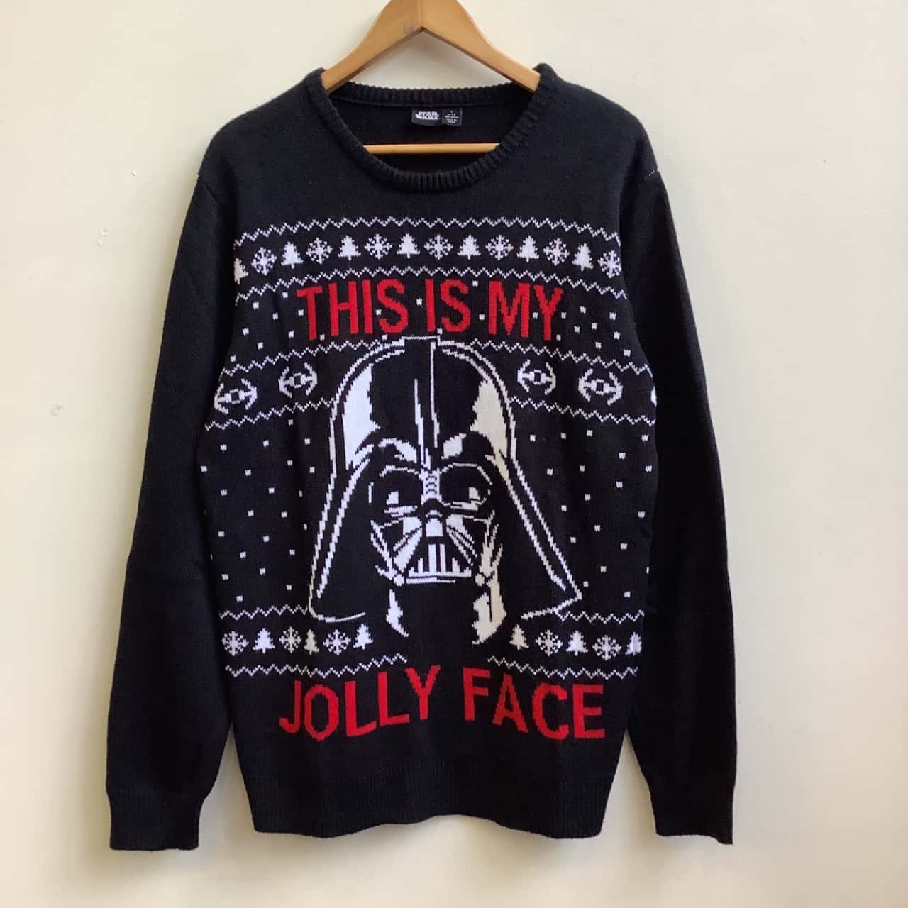 Star Wars / Primark Mens Size L  Black /Red/White Darth Vader This is My Jolly Face Jumper