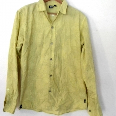 Mens RUSTY LONG SLEEVE SHIRT Lime Green /Black Geometric stripes Size M