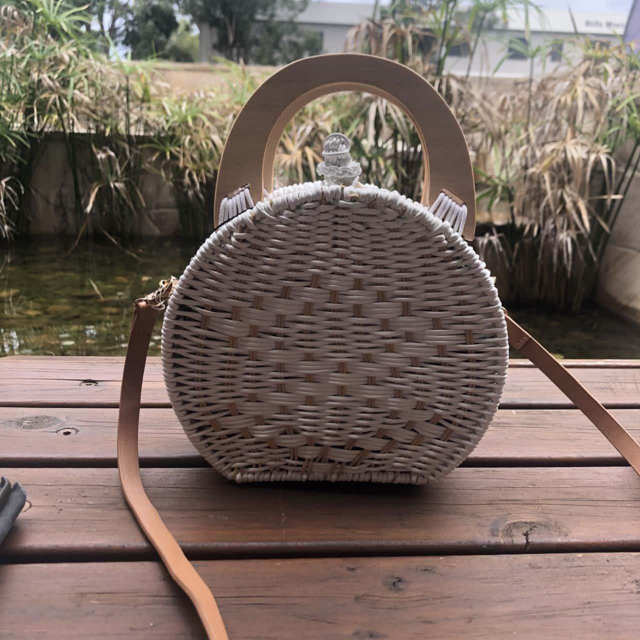 Zara White Wicker Small Bag