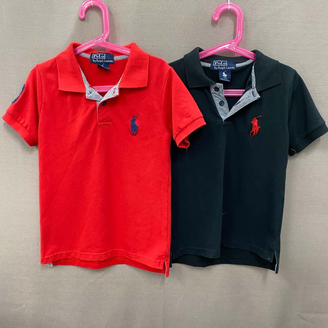 Polo Ralph Lauren Kids Polo Shirt Pair Size 7 Black /Red