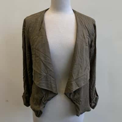 New Look Womens Olive Green Waterfall Jacket Size 12