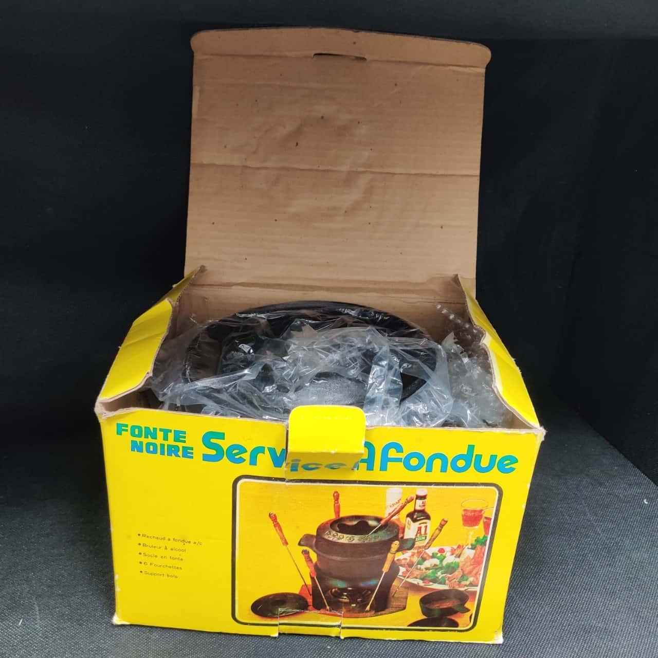 Cast Iron Retro Fondue Set - in original box