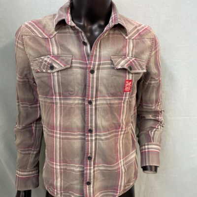 Superdry Mens  Size L Long Sleeve Grey/Red/White
