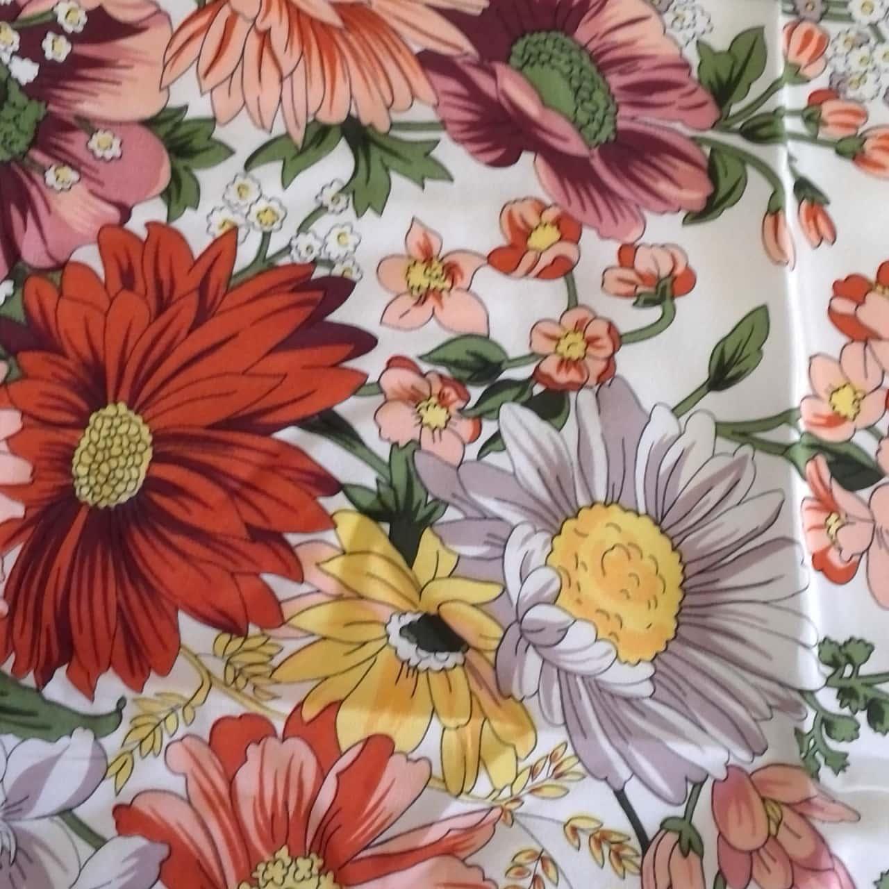 Womens LARGE VINTAGE SCARF Brown /Cream Floral 104 cm x 111 cm