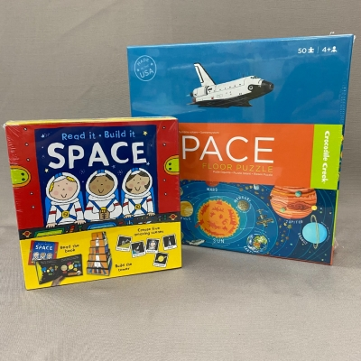 Kids Space Theme Puzzle & Book Activity Bundle Brand New