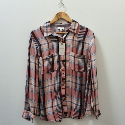 Lucky Brand Womens  Size XL/16-18 Long Sleeve Shirt Black/White/Pink Plaid