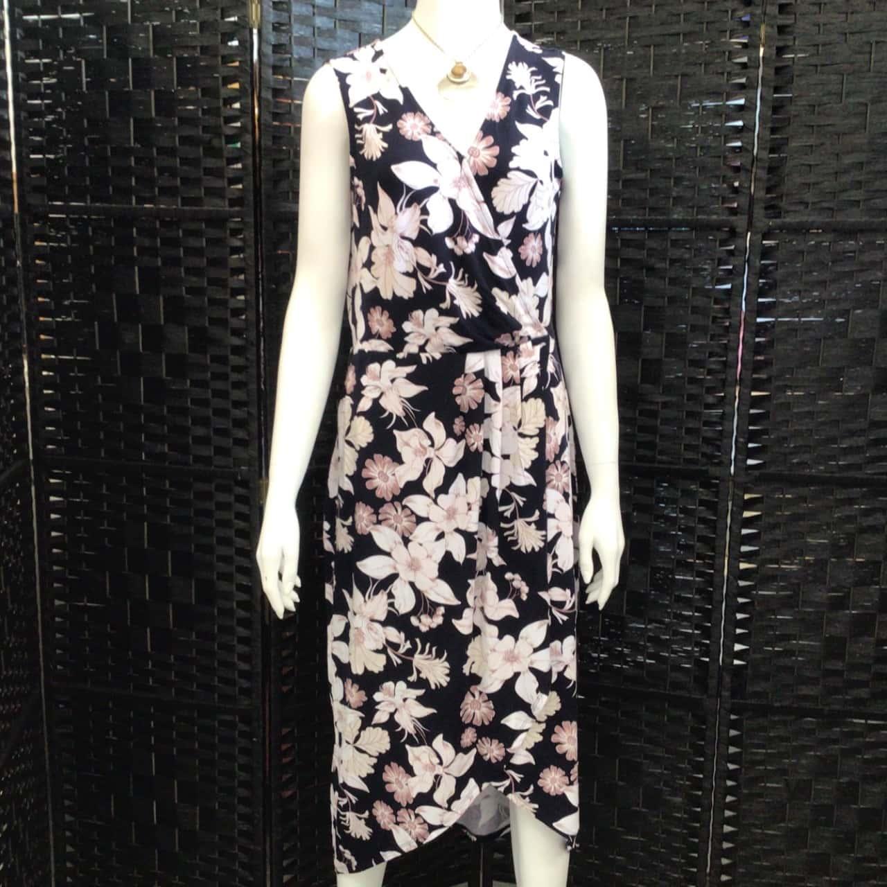 BNWT  Womens ROCKMANS Size 8 Maxi Dress Brown/Navy Blue/White RRP $69.99