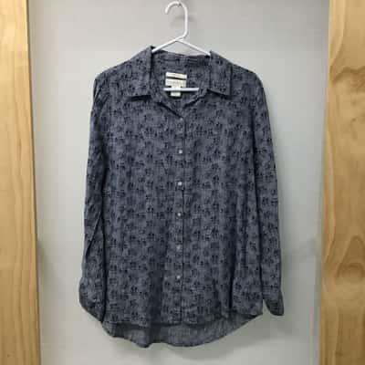 Cynthia Rowley, Navy blue linen blouse, Size M