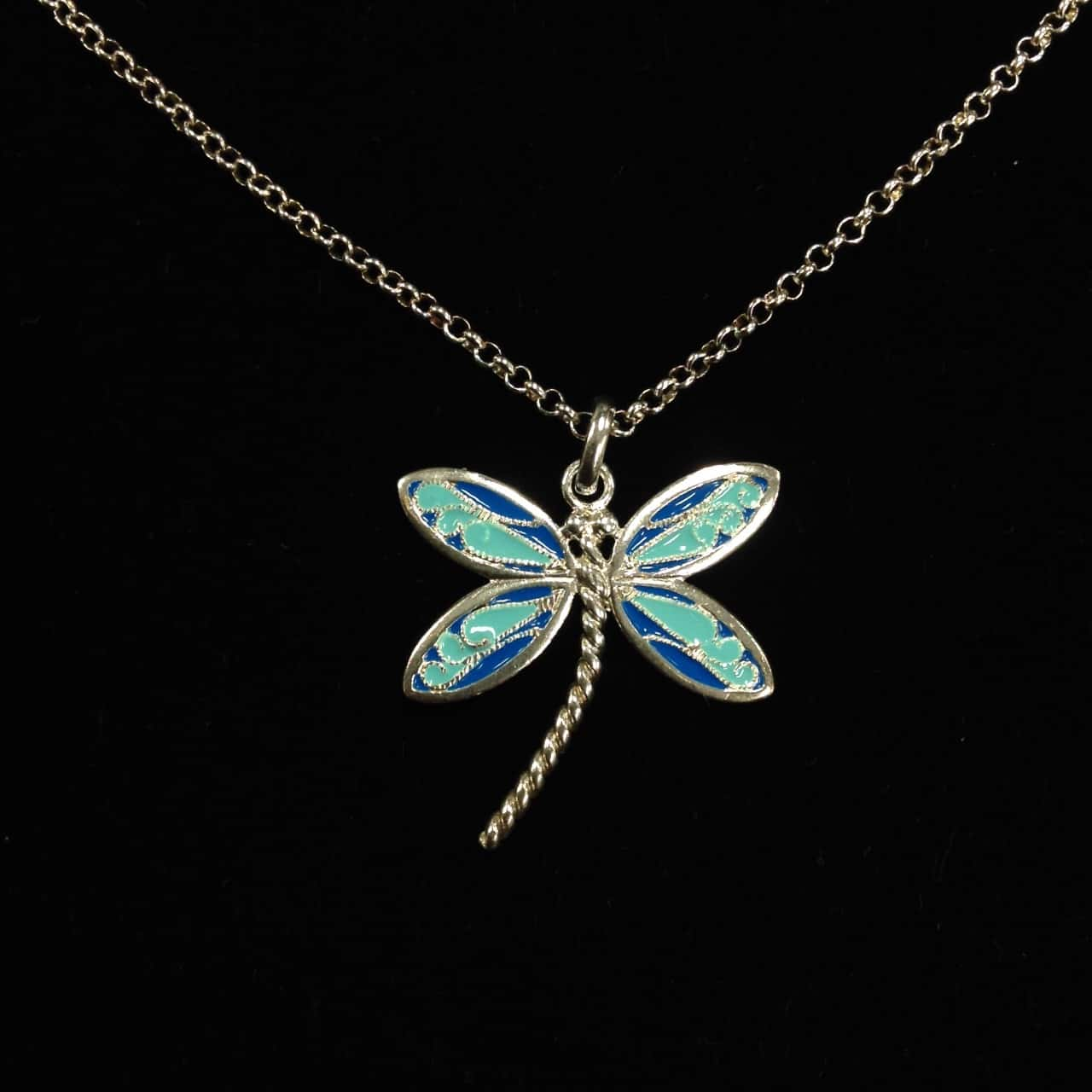 Womens Blue/Silver Dragonfly Necklace