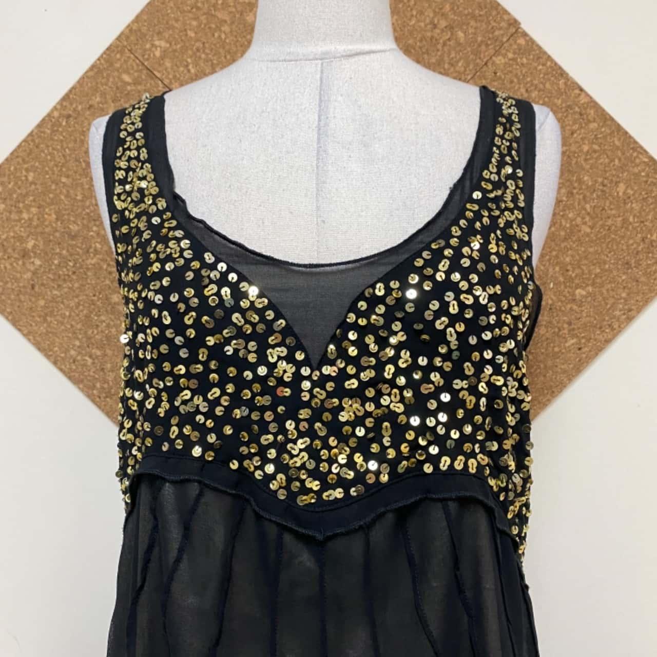 Women's Black /Gold Dress By FLAUNT size 14