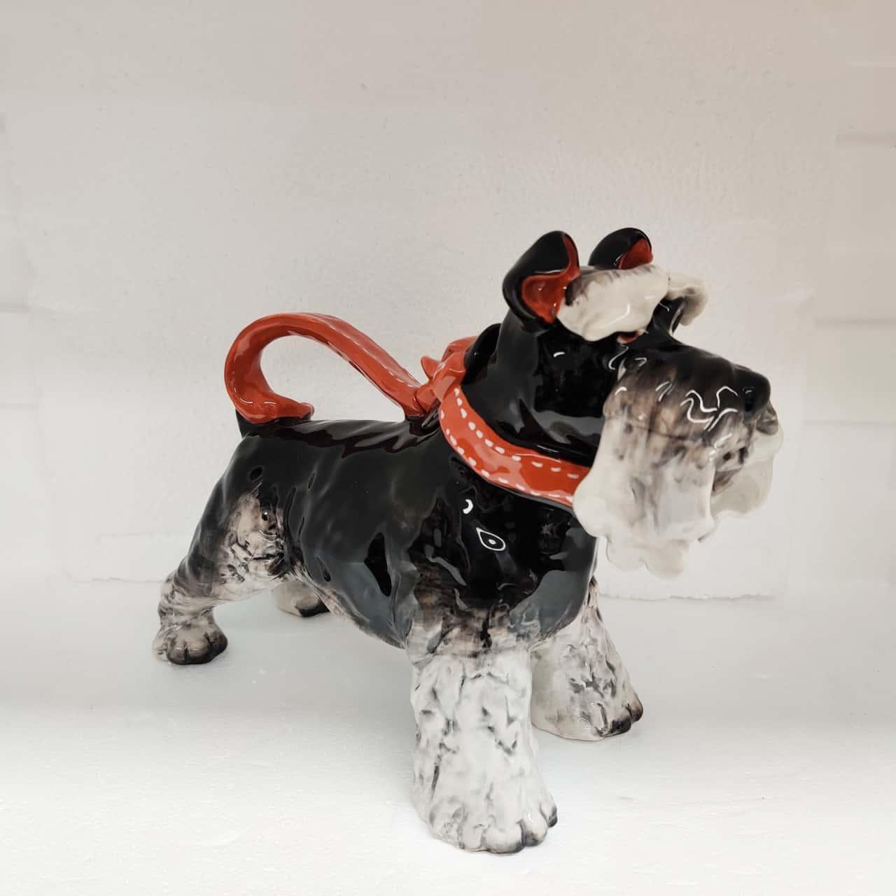 Ornamental Grey Terrier Tea Pot by Blue Sky Clayworks Heather Goldminc California USA