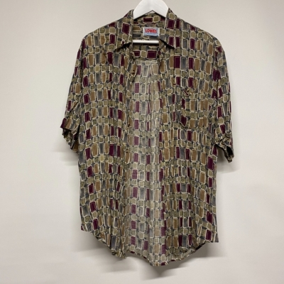 Men's vintage Lowe's olive and maroon Multiprint shirt size L
