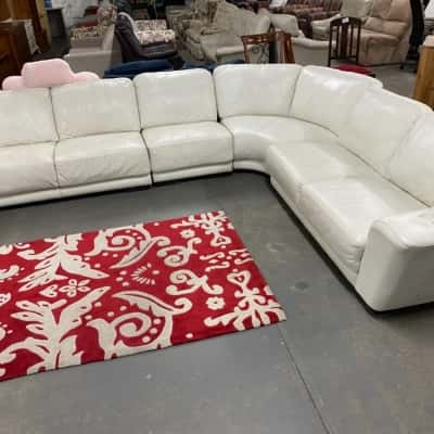 7 seater white leather corner sofa made by leather world