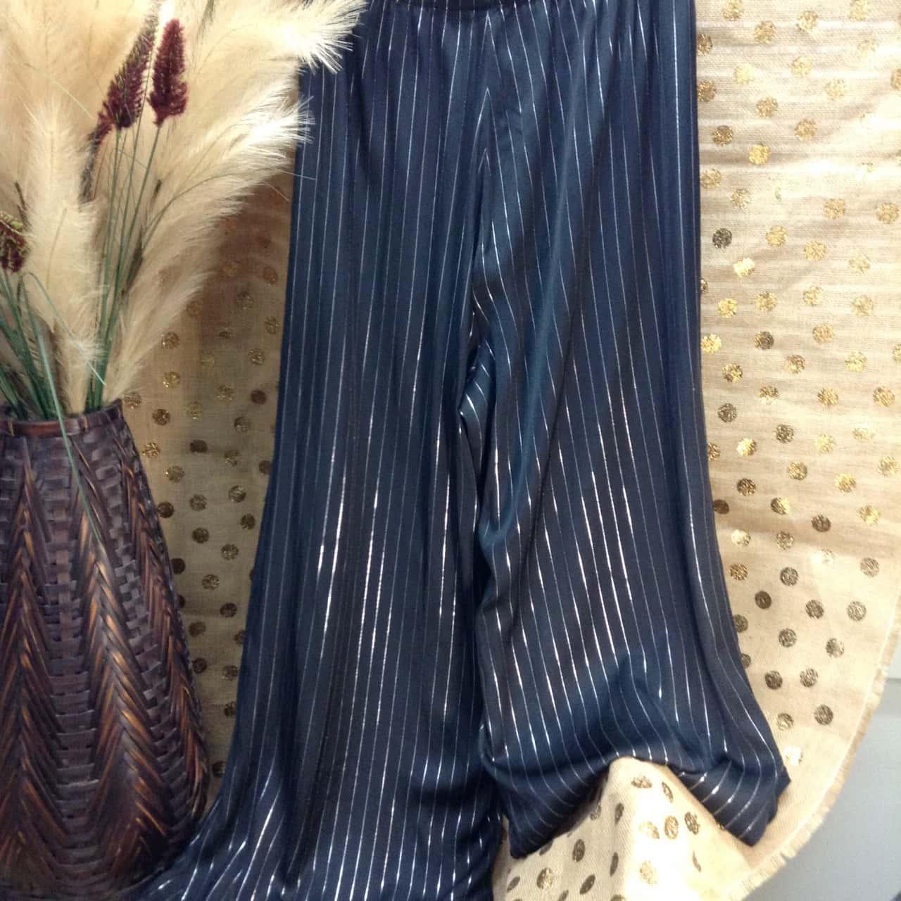 Taking Shape Womens Size 14 Wide Leg Black and Silver Pinstripe