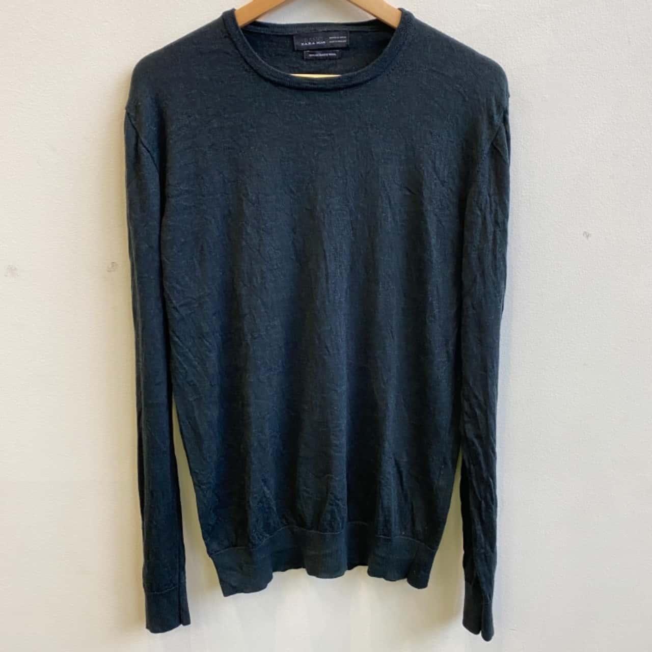 Zara Mens Basic Knit Wool Dark Green Jumper Size XL