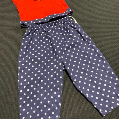 Girls Size 4 2 Pce outfit Blue/Polka Dot/Red/White MADE IN AUSTRALIA