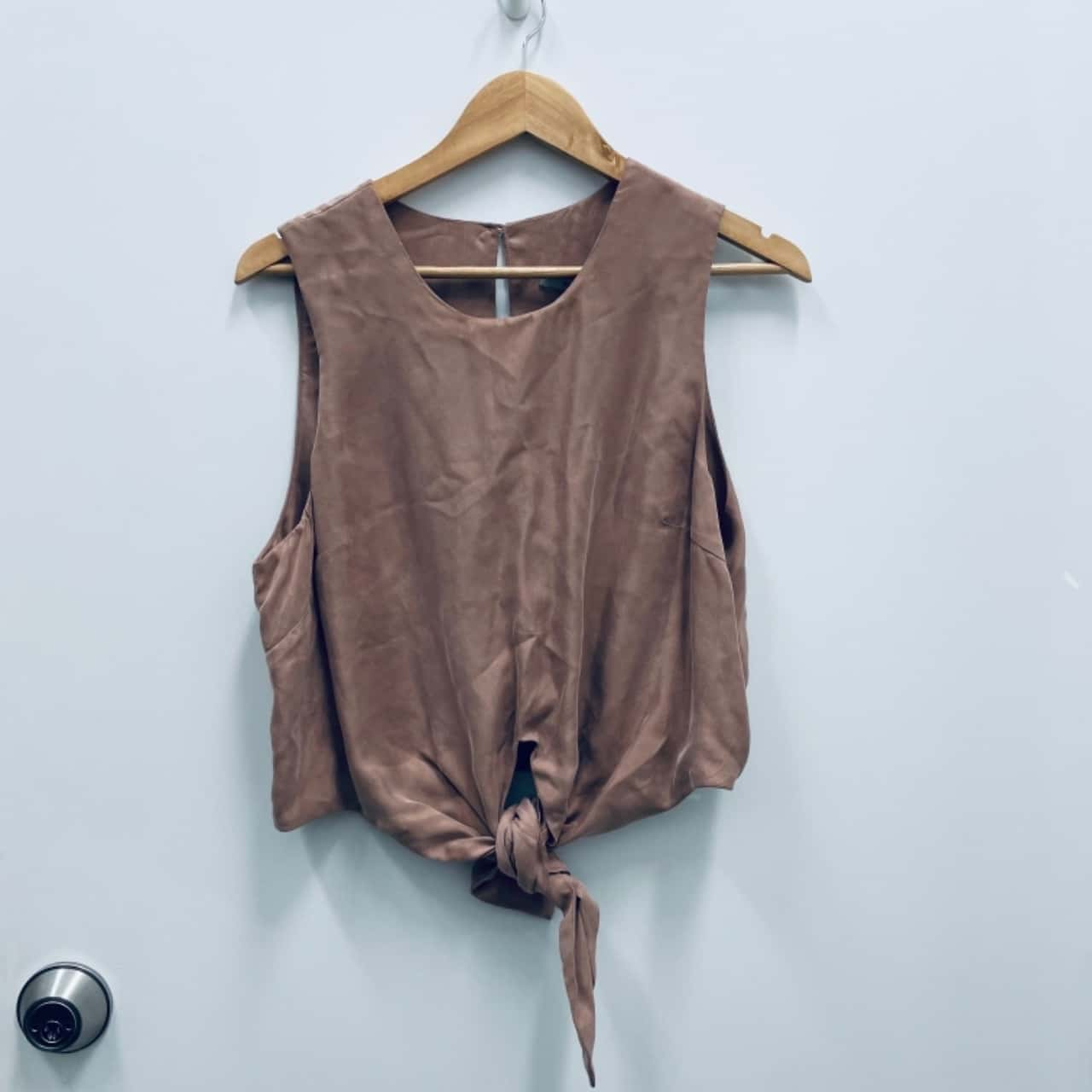 SHEIKE Womens Sleeveless Tie-Front Top Size 14 Brown