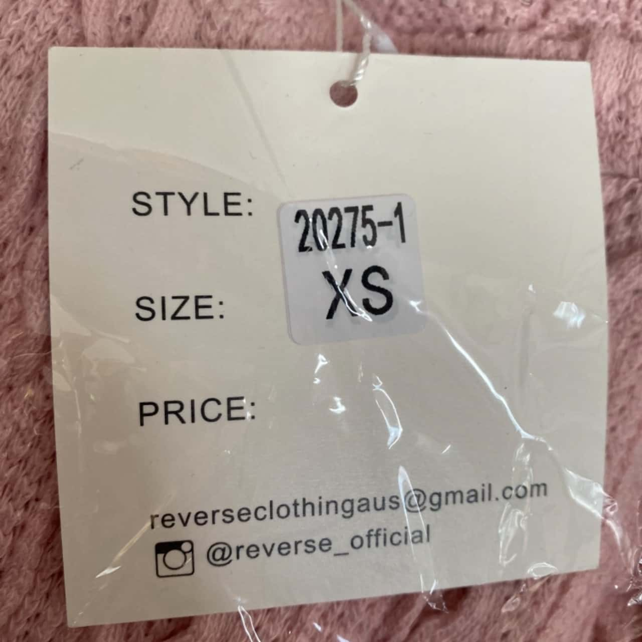 Reverse XS Women's Pink 2pc Set- New With Tags
