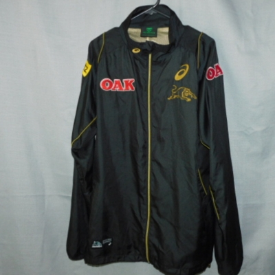 Asics Official NRL Mens Panthers Lightweight Jacket with Gold Panther Logo on Front Size L