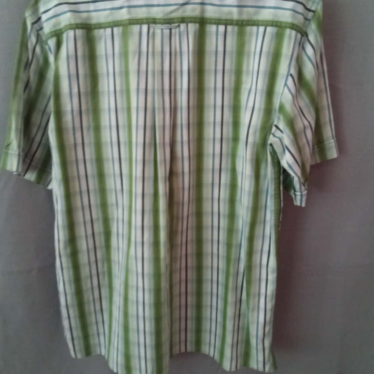 REDUCED WAS $12 NOW $5 Rivers Mens Green/Blue Stripe Shirt Size S (slim fit) UAN