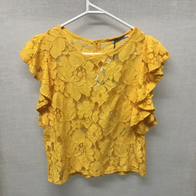 ZaraTrafaluc, Warm yellow floral lace top, Size M, NWT, RRP $29.95