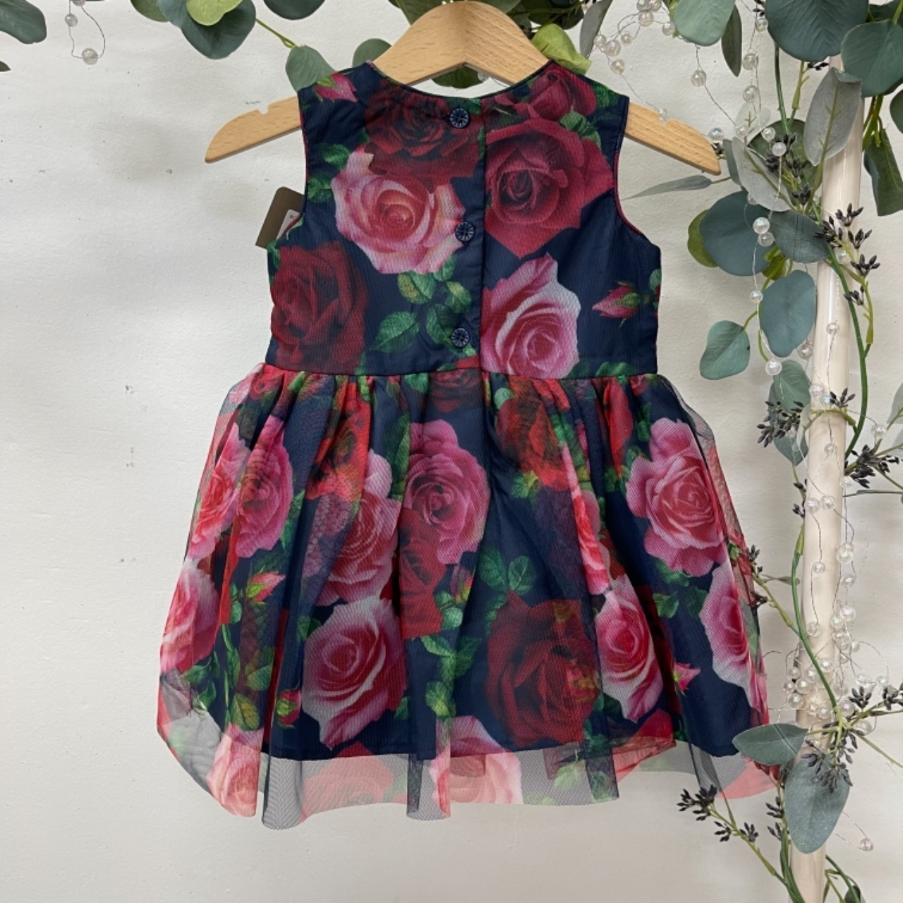 Origami Kids  Size 0 Dress Floral/Navy Blue