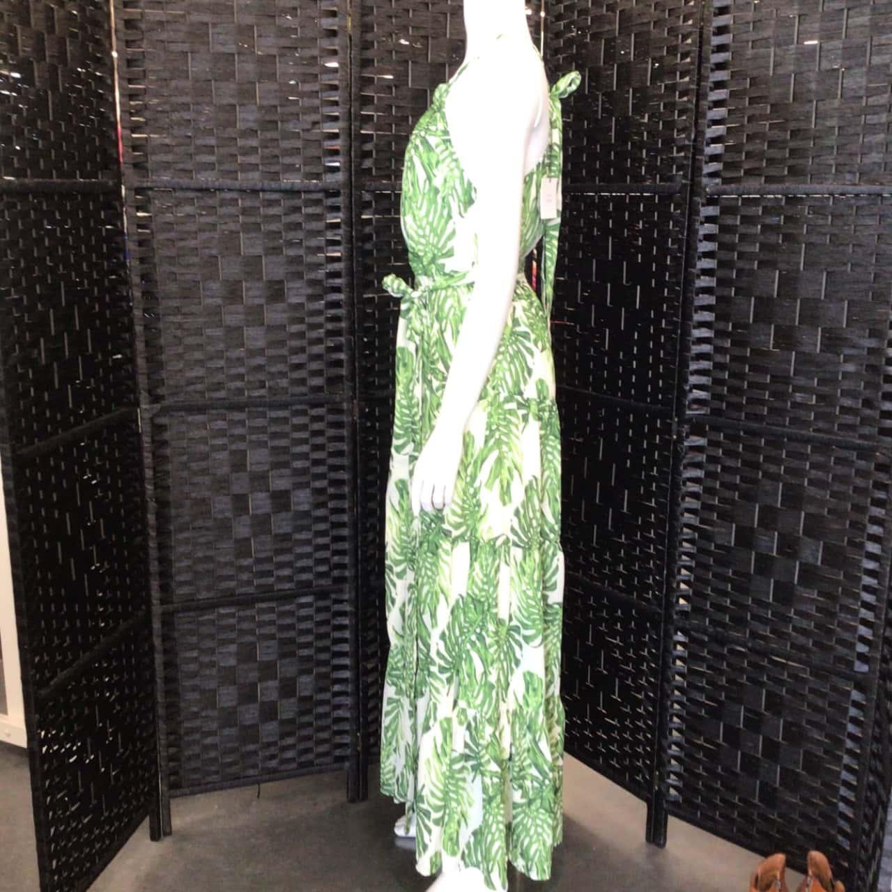 BNWT Womens  WHYTE VALENTYNE BOHO STYLE Size 6 Maxi Dress Green / Cream