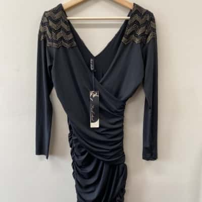 Fresh Soul Womens Size 8 Long Sleeve Black and Gold Dress - New with Tags
