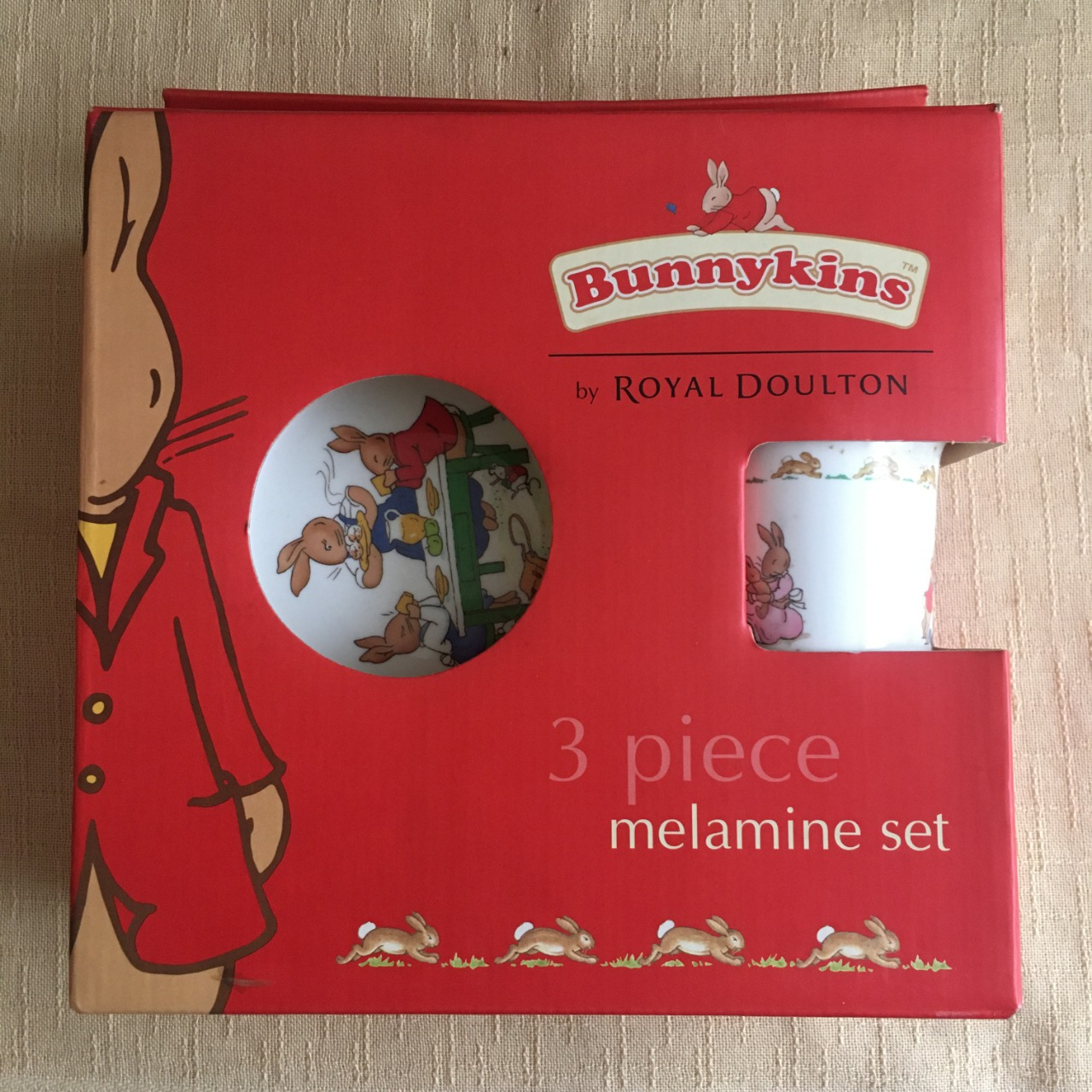 Bunnykins by Royal Doulton 3 Piece Melamine Set- Brand New