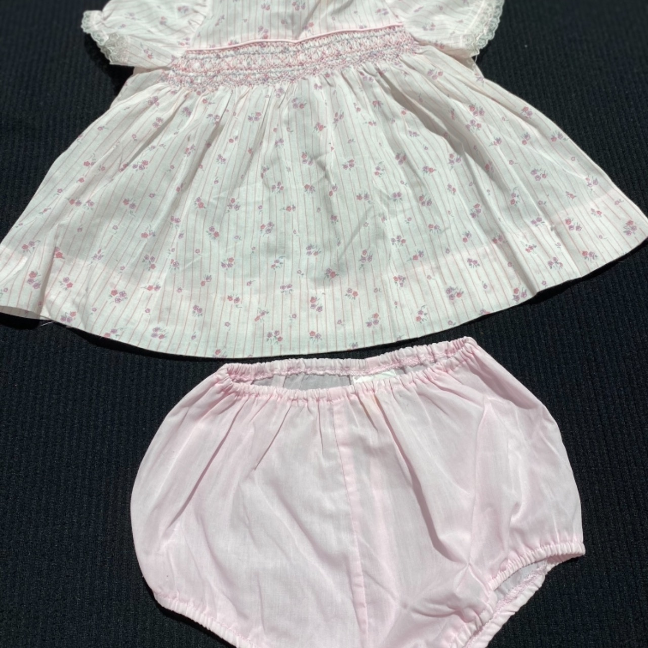 VINTAGE SIZE 00 Baby Girl 2PCE Dress YOUNG DIMENSIONS FOR MYER Pink White Smocking
