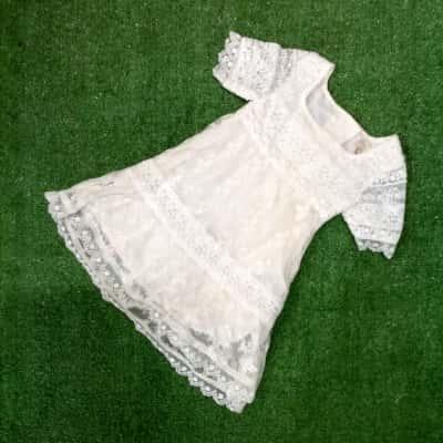 Collette Dinnigan Kids Size 3-6m Lace Dress Cream