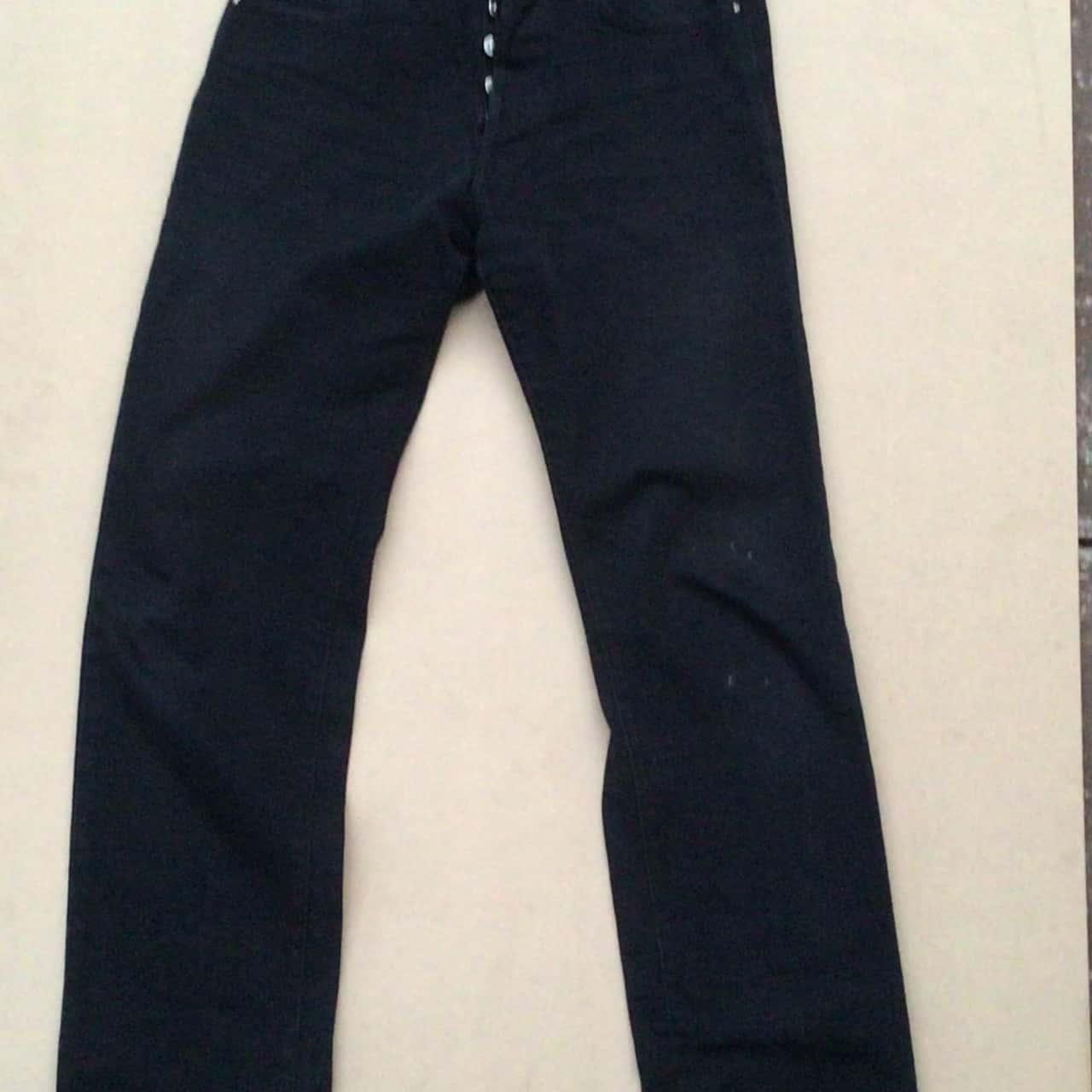 "Mens VERSACE JEANS COUTURE Straight Jeans BUTTON FRONT Black  Size 33"" WAIST (83 cm) Inner leg 84 cm"