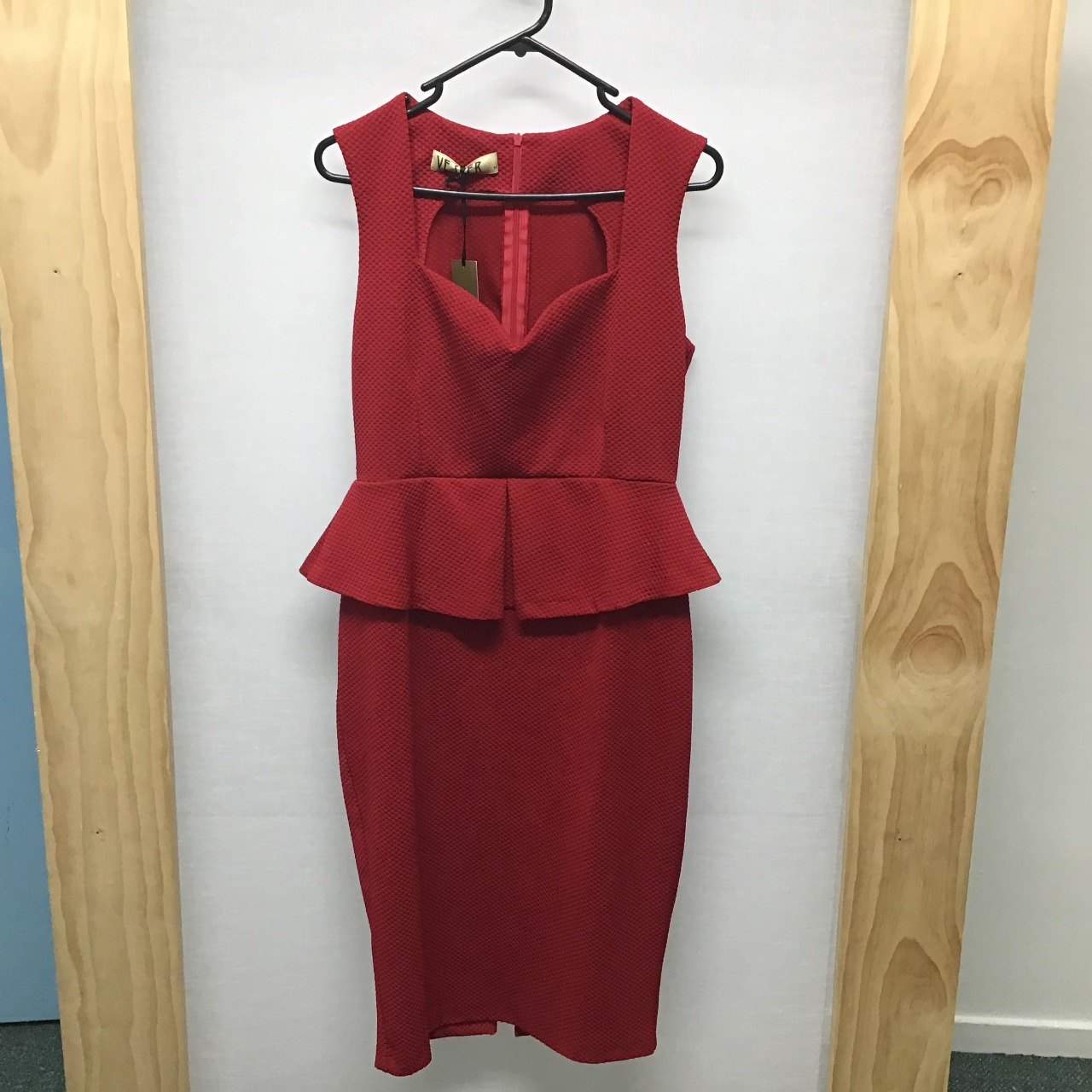 Vesper, Red sleeveless dress with peplum, Size 14, New With Tag