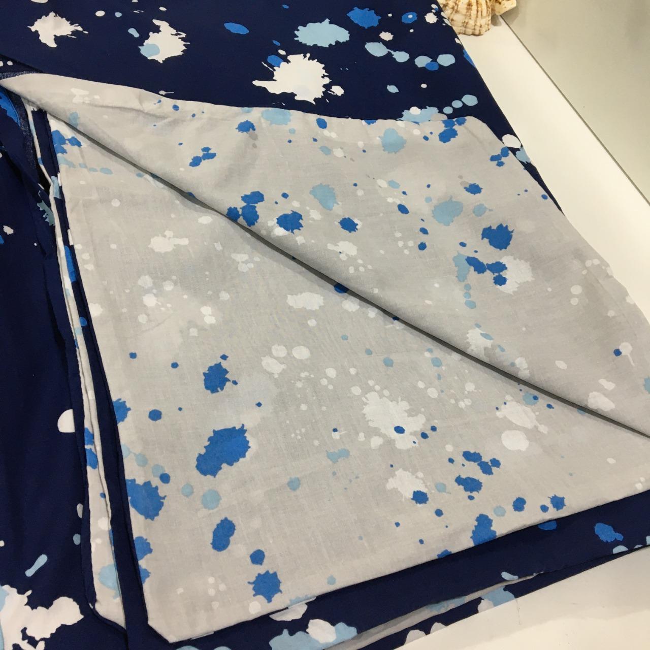 CLEARANCE - Noah, Quilt Cover Set, Single Bed, Paint Splash Pattern, Blue/White