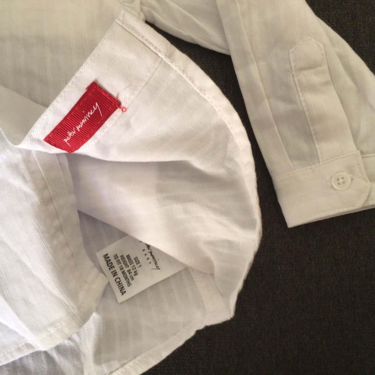 BNWT BABY BOY SHIRT & TIE SET Size 1 White