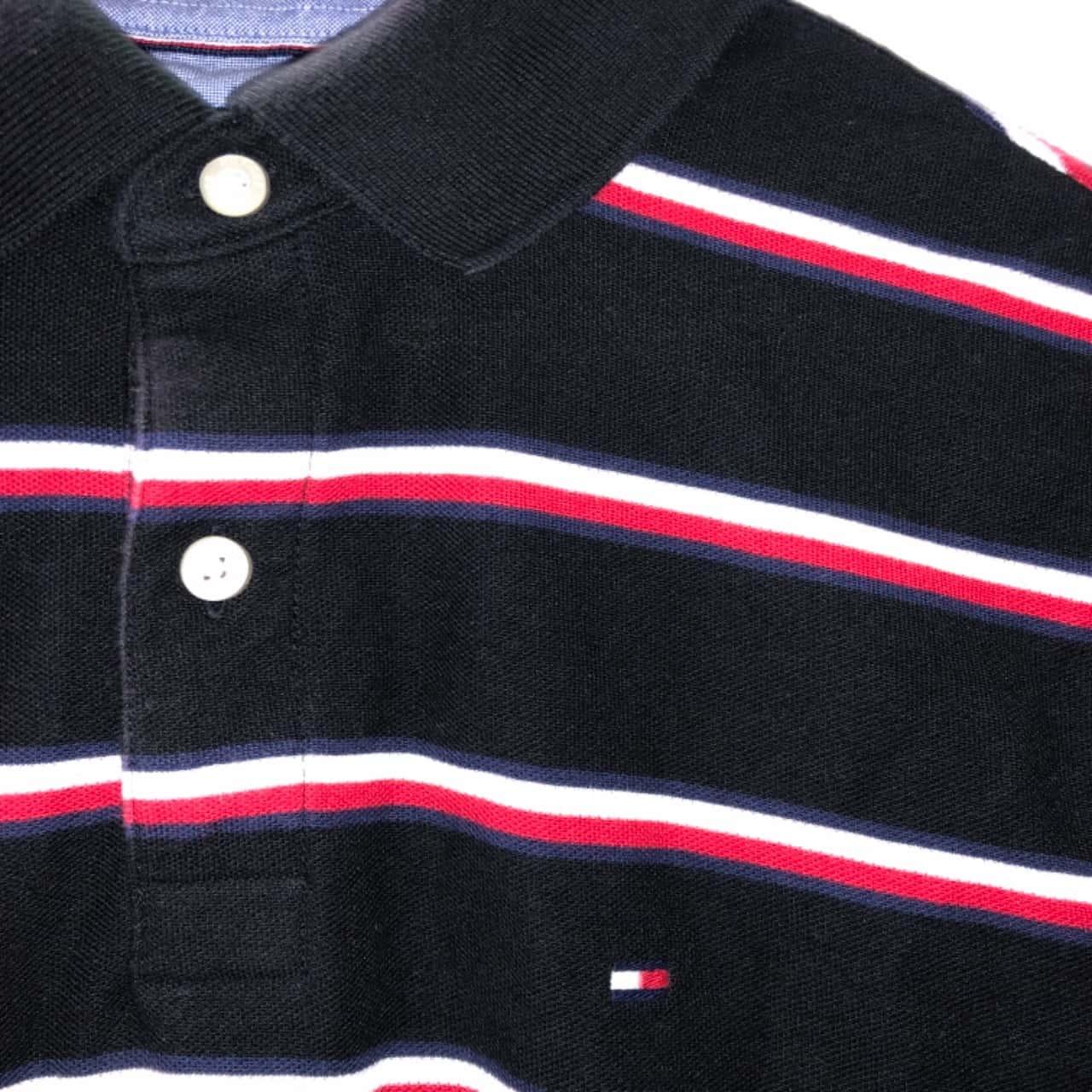 Tommy Hilfiger Mens  Size M Short Sleeve Top Black /Striped