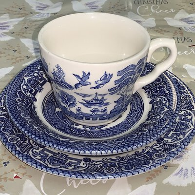 English blue and white, dish plus teacup and saucer, with vintage willow china pattern
