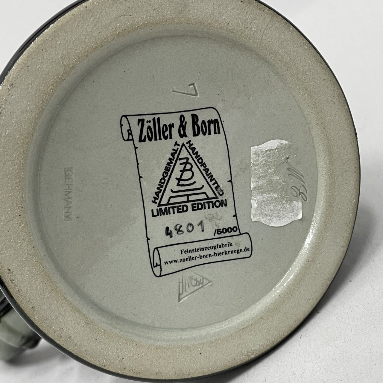 ZOLLER & BORN Limited Edition Handpainted German Beer Stein Deutschland Black Grey Gold