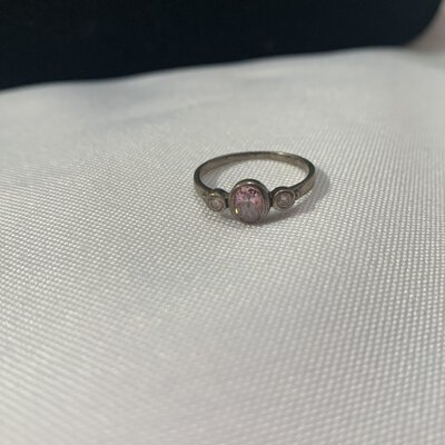 Stamped Silver Ring With 1 Pink & 2 White Cubic Zirconias