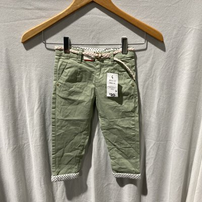 BNWT Target, Girls Cotton Chino Pants with Belt, Size 2, Green