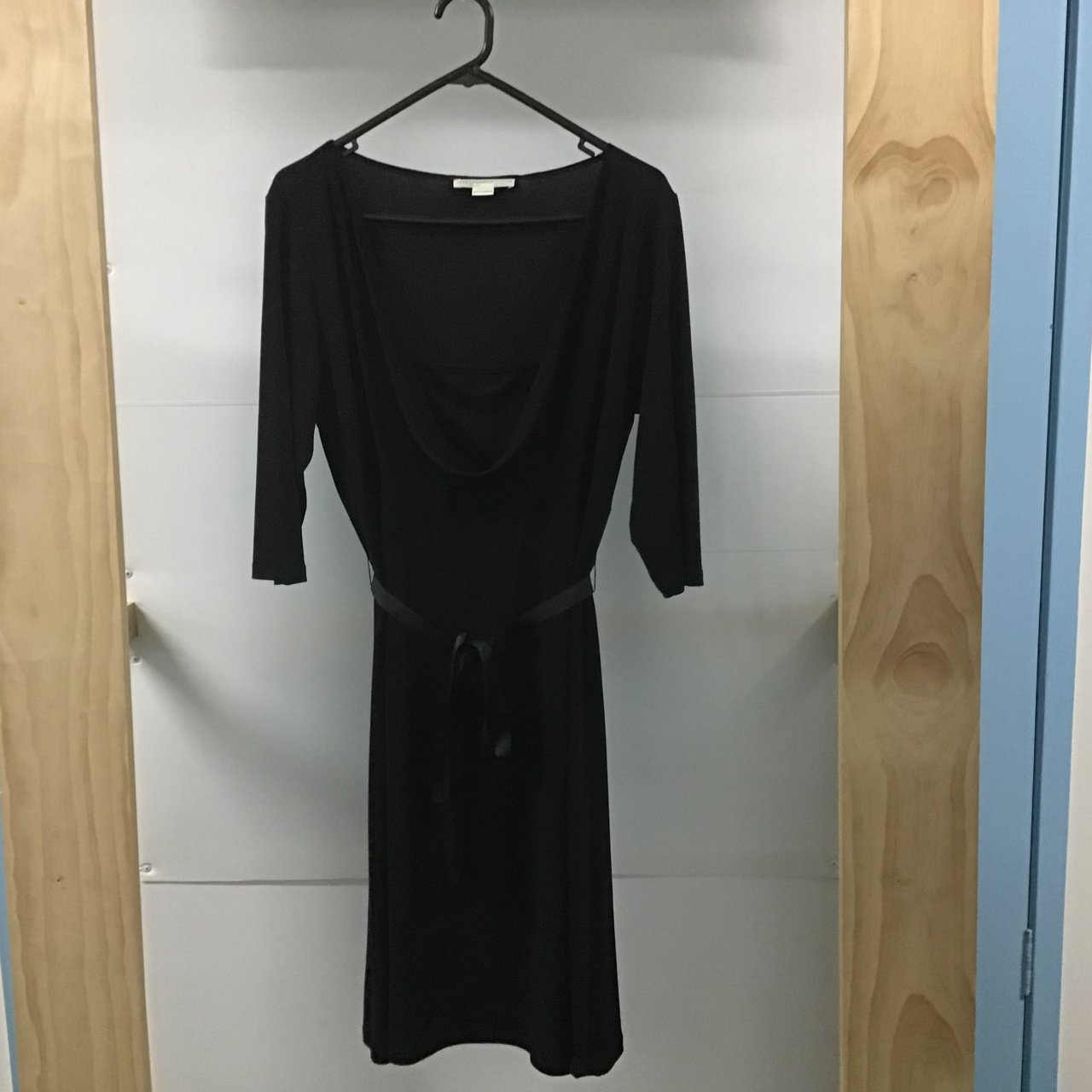 Jane Lamberton black dress with 3/4 sleeves.Cowl neck, size 14